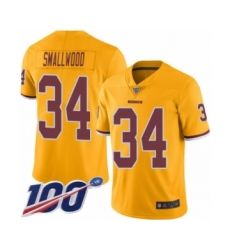 Men's Washington Redskins #34 Wendell Smallwood Limited Gold Rush Vapor Untouchable 100th Season Football Jersey