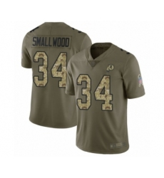 Men's Washington Redskins #34 Wendell Smallwood Limited Olive Camo 2017 Salute to Service Football Jersey