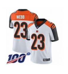 Men's Cincinnati Bengals #23 B.W. Webb White Vapor Untouchable Limited Player 100th Season Football Jersey