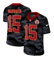 Men's Kansas City Chiefs #15 Patrick Mahomes Camo Red Font 2020 Nike Limited Jersey