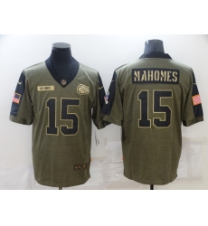 Men's Kansas City Chiefs #15 Patrick Mahomes Nike Olive 2021 Salute To Service Limited Player Jersey