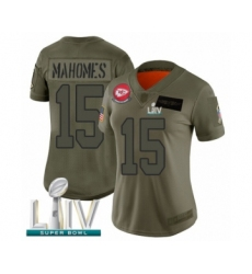 Women's Kansas City Chiefs #15 Patrick Mahomes Limited Olive 2019 Salute to Service Super Bowl LIV Bound Football Jersey
