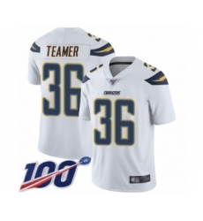 Men's Los Angeles Chargers #36 Roderic Teamer White Vapor Untouchable Limited Player 100th Season Football Jersey