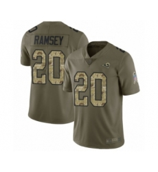 Men's Los Angeles Rams #20 Jalen Ramsey Limited Olive Camo 2017 Salute to Service Football Jersey