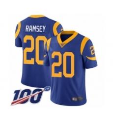 Men's Los Angeles Rams #20 Jalen Ramsey Royal Blue Alternate Vapor Untouchable Limited Player 100th Season Football Jersey