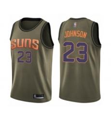 Men's Phoenix Suns #23 Cameron Johnson Swingman Green Salute to Service Basketball Jersey