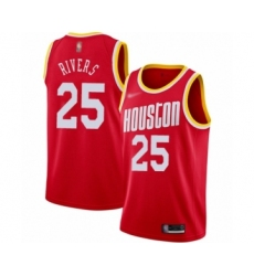Men's Houston Rockets #25 Austin Rivers Authentic Red Hardwood Classics Finished Basketball Jersey
