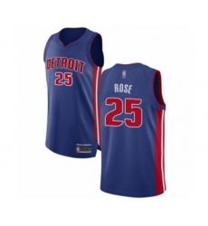 Men's Detroit Pistons #25 Derrick Rose Authentic Royal Blue Basketball Jersey - Icon Edition