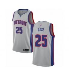 Men's Detroit Pistons #25 Derrick Rose Authentic Silver Basketball Jersey Statement Edition
