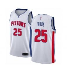 Men's Detroit Pistons #25 Derrick Rose Authentic White Basketball Jersey - Association Edition