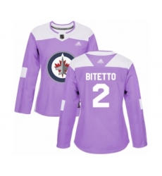 Women's Winnipeg Jets #2 Anthony Bitetto Authentic Purple Fights Cancer Practice Hockey Jersey