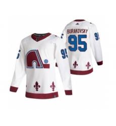Men's Colorado Avalanche #95 Andre Burakovsky White 2020-21 Reverse Retro Alternate Hockey Jersey