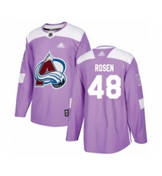 Men's Colorado Avalanche #48 Calle Rosen Authentic Purple Fights Cancer Practice Hockey Jersey