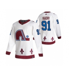Men's Colorado Avalanche #91 Nazem Kadri White 2020-21 Reverse Retro Alternate Hockey Jersey