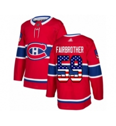 Men's Montreal Canadiens #59 Gianni Fairbrother Authentic Red USA Flag Fashion Hockey Jersey