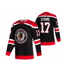 Men's Chicago Blackhawks #17 Dylan Strome Black 2020-21 Reverse Retro Alternate Hockey Jersey
