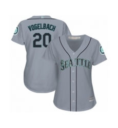 Women's Seattle Mariners #20 Daniel Vogelbach Authentic Grey Road Cool Base Baseball Player Jersey