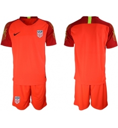 USA Blank Red Goalkeeper Soccer Country Jersey