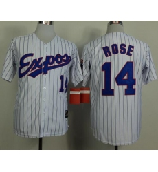 Mitchell And Ness 1982 Expos #14 Pete Rose White(Black Strip) Throwback Stitched Baseball Jersey