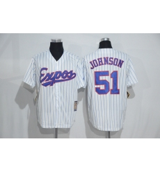 Mitchell And Ness Montreal Expos #51 Randy Johnson White Strip Throwback Stitched Baseball Jersey