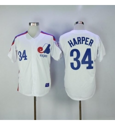 Mitchell And Ness Montreal Expos #34 Bryce Harper White Throwback Stitched MLB Jersey
