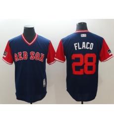 Men's Boston Red Sox #28 J.D. Martinez Flaco Navy Players Weekend Team Jersey