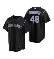 Men's Nike Colorado Rockies #48 German Marquez Black Alternate Stitched Baseball Jersey