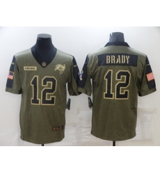 Men's Tampa Bay Buccaneers #12 Tom Brady Nike Olive 2021 Salute To Service Limited Player Jersey