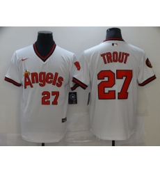 Men's Nike Los Angeles Angels #27 Mike Trout White Stitched Baseball Jersey