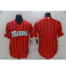 Men's Miami Marlins Blank Nike Red 2021 City Connect Replica Player Jersey