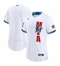Men's Miami Marlins Blank Nike White 2021 MLB All-Star Game Authentic Jersey