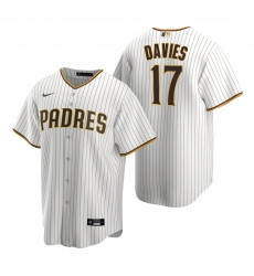 Men's Nike San Diego Padres #17 Zach Davies White Brown Home Stitched Baseball Jersey