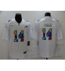 Men's Buffalo Bills #14 Stefon Diggs White Rainbow Version Nike Limited Jersey
