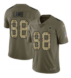 Men's Dallas Cowboys #88 CeeDee Lamb Olive Camo Stitched Limited 2017 Salute To Service Jersey