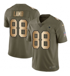 Men's Dallas Cowboys #88 CeeDee Lamb Olive Gold Stitched Limited 2017 Salute To Service Jersey
