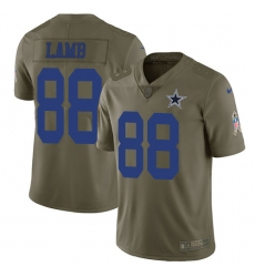 Men's Dallas Cowboys #88 CeeDee Lamb Olive Stitched Limited 2017 Salute To Service Jersey