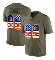 Men's Dallas Cowboys #88 CeeDee Lamb Olive USA Flag Stitched Limited 2017 Salute To Service Jersey