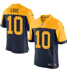 Men's Green Bay Packers #10 Jordan Love Navy Blue Alternate Stitched NFL New Elite Jersey