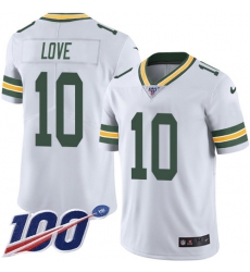 Men's Green Bay Packers #10 Jordan Love White Stitched NFL 100th Season Vapor Untouchable Limited Jersey