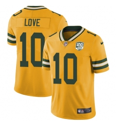 Men's Green Bay Packers #10 Jordan Love Yellow 100th Season Stitched NFL Limited Rush Jersey