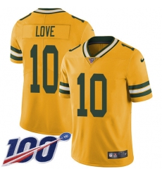 Men's Green Bay Packers #10 Jordan Love Yellow Stitched NFL Limited Rush 100th Season Jersey
