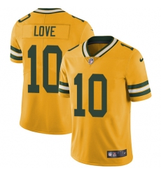 Men's Green Bay Packers #10 Jordan Love Yellow Stitched NFL Limited Rush Jersey