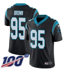 Youth Carolina Panthers #95 Derrick Brown Black Team Color Stitched NFL 100th Season Vapor Untouchable Limited Jersey