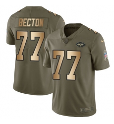 Men's New York Jets #77 Mekhi Becton Olive Gold Stitched Limited 2017 Salute To Service Jersey