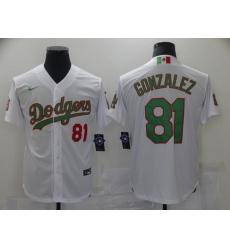 Men's Los Angeles Dodgers #81 Victor Gonzalez White 2020 World Series Authentic Jersey