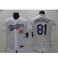 Men's Los Angeles Dodgers #81 Victor Gonzalez White Gold Authentic Jersey