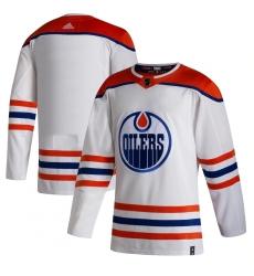 Men's Edmonton Oilers adidas Blank White 2020-21 Reverse Retro Authentic Jersey
