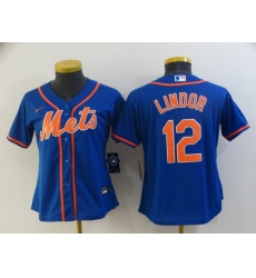 Women's Nike New York Mets #12 Francisco Lindor Blue Jersey