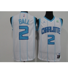 Men's Charlotte Hornets #2 Lamelo Ball White Jordan Brand Teal 2020-21 Swingman Jersey