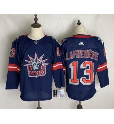 Men's New York Rangers #13 Alexis Lafreniere Blue Home Replica Player Jersey